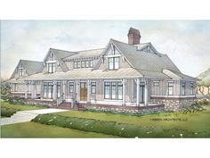 Cottage style single story home exterior french country for One story low country house plans