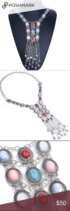 Silver Colorful Gemstones Statement Necklace Beautiful and new! Jewelry Necklaces