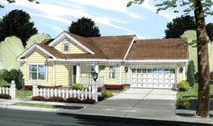 House Plan 66492 | Ranch Traditional Plan with 960 Sq. Ft., 2 Bedrooms, 2 Bathrooms, 2 Car Garage at family home plans