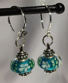 Silver and glass bead earrings