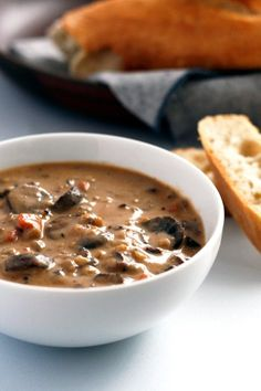 Mushroom and wild rice soup is the perfect way to stay warm during these cold winter months. Vegan and easily made gluten-free. Soup Recipes, Whole Food Recipes, Vegetarian Recipes, Cooking Recipes, Vegetarian Lunch, Yummy Recipes, Dinner Recipes, Healthy Recipes, Soups