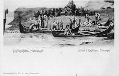 Stavanger. Maleri i Kaffistova med bryllupsferd i Hardanger.