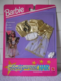 Amazon.com: Barbie Fashion # HOLLYWOOD HAIR Złoty Lame Jacket 1996- Spódnica i zestaw (1992): Zabawki i gry