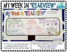 ~Joy in the Journey~: {FREE} Student Reflection Tool: My Week in REARVIEW