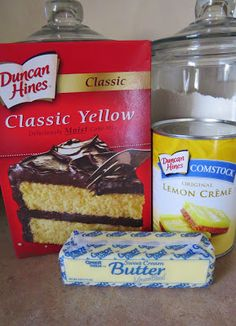 1 box yellow cake mix    1 stick (1/2 cup) unsalted butter (softened to room temperature)    1 can lemon pie filling