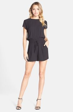 BCBGMAXAZRIA 'Angella' Drape Back Blouson Romper available at #Nordstrom