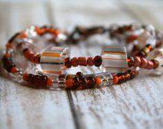 Earthly Delight-Three Strand Beaded Bracelet. Brown Jewelry. Boho Bracelet. Beaded Bracelet. Glass Beaded Jewelry. Seed Bead Bracelet. - Edit Listing - Etsy