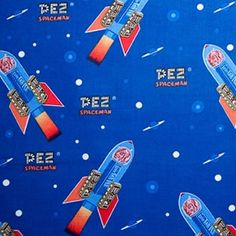 Pez Spaceman by A E Nathan Co candy dispenser cotton novelty fabric for boys, rockets and spaceship Conversational Prints, Candy Dispenser, Novelty Fabric, Retro, Fabrics, Blue, Tejidos, Retro Illustration, Cloths