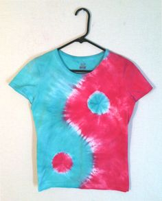 Tie Dye Womens T-Shirt - Blue and Magenta Yin Yang Design - 100% Cotton Womens Shirt by RainbowEffectsTieDye on Etsy https://www.etsy.com/listing/164070321/tie-dye-womens-t-shirt-blue-and-magenta