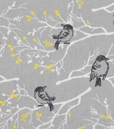 Keepsake Calico™ Cotton Fabric-Gray Birds On Branches