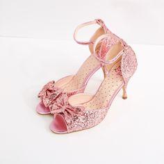 Rita Shoe' Pink Glitter Peep Toe Dance Shoes