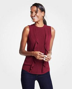 Shop Ann Taylor for effortless style and everyday elegance. Our Mixed Media Pintucked Ruffle Shell is the perfect piece to add to your closet. Fall Photos, Pin Tucks, Ann Taylor, Elegant, Shell, Mixed Media, Color, Clothes, Shopping
