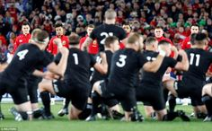 The Lions watch on with unimpressed faces as the All Blacks perform the traditional haka a. British And Irish Lions, Rugby, All Blacks, Sports News, Burke, New Zealand, Faces, Traditional