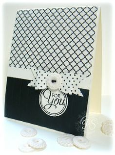 handmade card from Stampsnsmiles: Modern Medley for You! ... black and white ... patterned papers ... paper bow  ... like it! ... Stampin' Up!