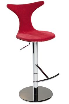 DOLPHIN Barstool in red corduroy w. chrome base