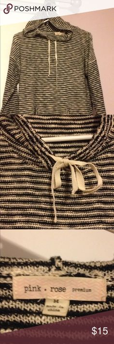 Striped black and white hoodie sweater Casual comfy sweater with tie neck and hood.  Great condition Pink Rose brand  Size generous medium! Pink Rose Sweaters Crew & Scoop Necks