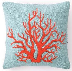 Red Coral Pillow ~ I'd FIND a place for it, it's so lovely