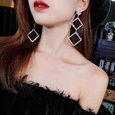 A-Style Diamond Gold 925 Silver Needle Personality Exaggerated Earrings Female Geometric Diamond Large Earring Personality Temperament Long Earring, Rhinestone Earrings, Bridal Earrings, Crystal Earrings, Fashion Earrings, Women's Earrings, Silver Earrings, Fashion Jewelry, Fashion Accessories, Fancy Jewellery