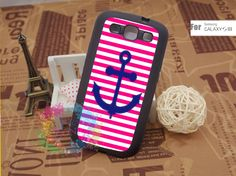 Samsung Galaxy S3 Case Samsung Galaxy S3 Phone Case Samsung Galaxy Cover Hard Plastic or Silicon Rubber Cases - Pink stripes anchor. $15.99, via Etsy.