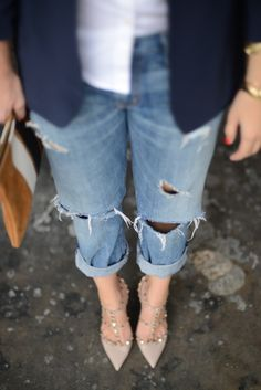 boyfriend jeans and studded heels