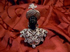 Super Luxury Blackamoor Brooche BIG LOVE W Gold 18 kt diamonds ebony - Dogale Jewellery Venice Italy