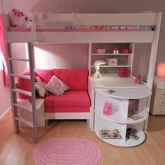 33 Sweety Girls Bedroom Ideas Remodel - Page 3 of 35 Girls Cabin Bed, Childrens Cabin Beds, Bed For Girls Room, Girl Rooms, Loft Beds For Teens, Kids Bunk Beds, Cute Bedroom Ideas, Girl Bedroom Designs, Tween Girl Bedroom Ideas
