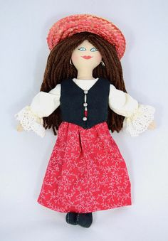 Girl Doll in Red Hat & Red Dress  Art Doll  Toy Doll