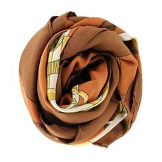 Pre-Owned Hermes Brown Gold Silk Black Scarf (4.815.360 IDR) ❤ liked on Polyvore featuring accessories, scarves, brown, gold silk scarves, hermes shawl, gold scarves, silk scarves and silk shawl