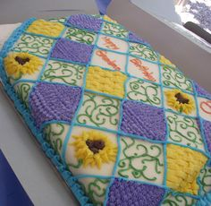 Quilt Cake in buttercream Patchwork Cake, Quilted Cake, Sewing Cake, Sewing Machine Cake, Cake Icing, Eat Cake, Cupcake Cakes, Frosting, Pretty Cakes