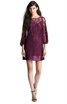 burgundy lace shift dress with long sleeves