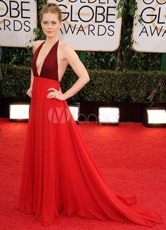 Robe des Golden Globes en chiffon rouge plissé à licou et traîne - Milanoo.com