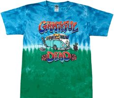 Find a quality Grateful Dead Bus tie dye shirt from Tie Dyed Shop. A very popular item depicting the popular Volkswagen bus of the hippie era. Concert Clothes, Tie Dye Shirts, Grateful Dead, Tie Dyed, Mens Tops, T Shirt, Shopping, Accessories, Art