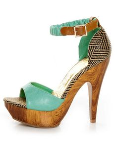 The wooden heels are like a piece of art -  Mona Mia Trinidad Mint, Black & Tan Woven Platform Heels