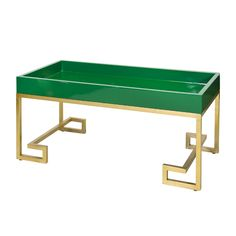 GREEN LACQUER TRAY W GOLD LEAFED GREEK KEY BASE FROM WORLDS AWAY.  FREE SHIPPING.
