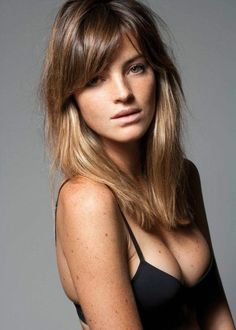 the hairstyle you want to cut for your overgrown straight bangs; soft side swept bangs, and layers. love the color that is kind of ombre but with highlights.