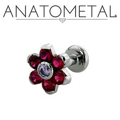Anatometal  16ga Flat Back Labret with Threaded Flower in ASTM F-136 titanium: synthetic Garnet and synthetic Amethyst gemstones