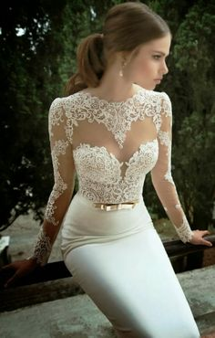 Adorable fitted and lace bridal dress