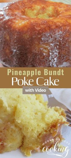 Pineapple Bundt Poke Cake is a simple, delicious, and moist poke cake. #pineapple #bundtcake #cake #pokecake #dessert #recipe Potluck Desserts, Easy Desserts, Delicious Desserts, Dessert Recipes, Cupcake Recipes, Homemade Desserts, Dessert Ideas, Baking Recipes, Keto Recipes