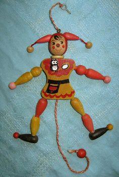via Etsy. Old Cribs, Lead Paint, Crib Toys, Cracker Jacks, Clowning Around, Nostalgia, Old Toys, Vintage Toys, Christmas Ornaments