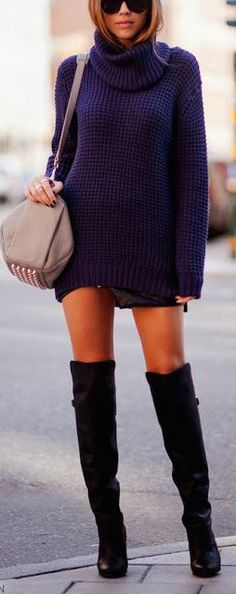 #fall #fashion / sweater dress + leather boots