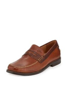 N3WJY Tommy Bahama Finlay Leather Penny Loafer, Saddle Brown