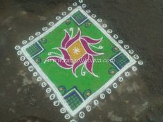 Small Rangolikolam Here Is A Kolam That Beginner Can Give Try It Simple FlowerIf You Are Not An Expert Then This