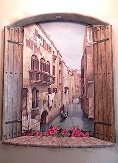 Mural of Venice inside niche with faux wood shutters by Carmen Illustrates.