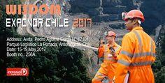Exhibition name: EXPONOR CHILE 2017 Date:15-19, May, 2017  Address:Avda. Pedro Aguirre Cerda N° 17101,Parque Logístico La Portada, Antofagasta, Chile. Booth no.: 256A