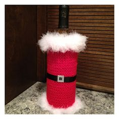 Saw it, Pinned it, Made it.: Crochet- Santa Wine Bottle Cover
