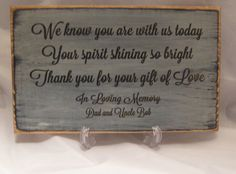 Rustic Memorial Sign for Wedding or Special Event Personalized with names you want by ExpressionsNmore, $21.95