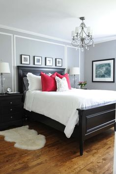 Bedroom design black furniture small master bedroom ideas wooden bed and headboard pop pillows side tables chandelier small white bedroom color ideas dark Small White Bedrooms, Small Master Bedroom, Master Bedroom Design, Bedroom Designs, Red Master Bedroom, Bedroom Styles, Black Bedroom Furniture, Bedroom Red, Home Bedroom