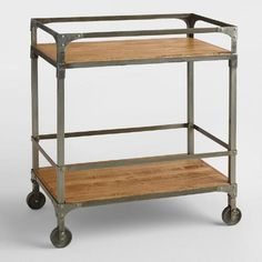 If meeting space is separate from kitchen this is perfect for client drinks/snacks. One of my favorite discoveries at WorldMarket.com: Aiden Bar Cart