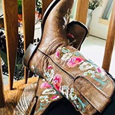 Amazon.com | Soto Boots Women's Jasmine Floral Square Toe Cowgirl Boots M50043 (Tan, 5.5 B(M) US) | Mid-Calf Girl Cowboy Boots, Warm Winter Boots, Snow Boots Women, Pull On Boots, Bearpaw Boots, Jasmine, Riding Boots, Calves, Toe