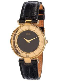 Seiko Black/Gold Roman Numerals Ladies' Leather Band Watch. #AmericanApparel